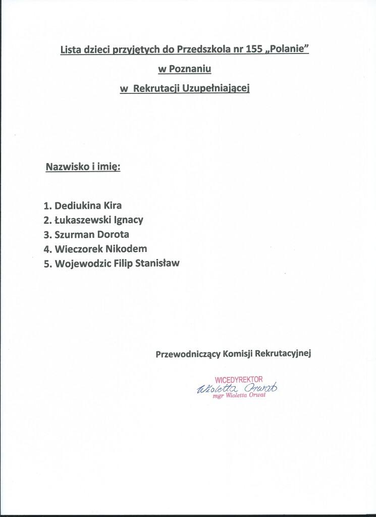 Lista przyjętych - r.uzupełniająca